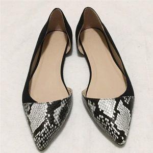 ASOS Black Snake Skin Pointy Toe Flats